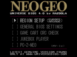 The UNIVERSE BIOS Main Menu