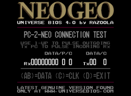 The UNIVERSE BIOS PC-2-NEO test screen